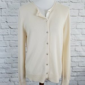 Ann Taylor Cashmere Sweater Cream Button Front Lg